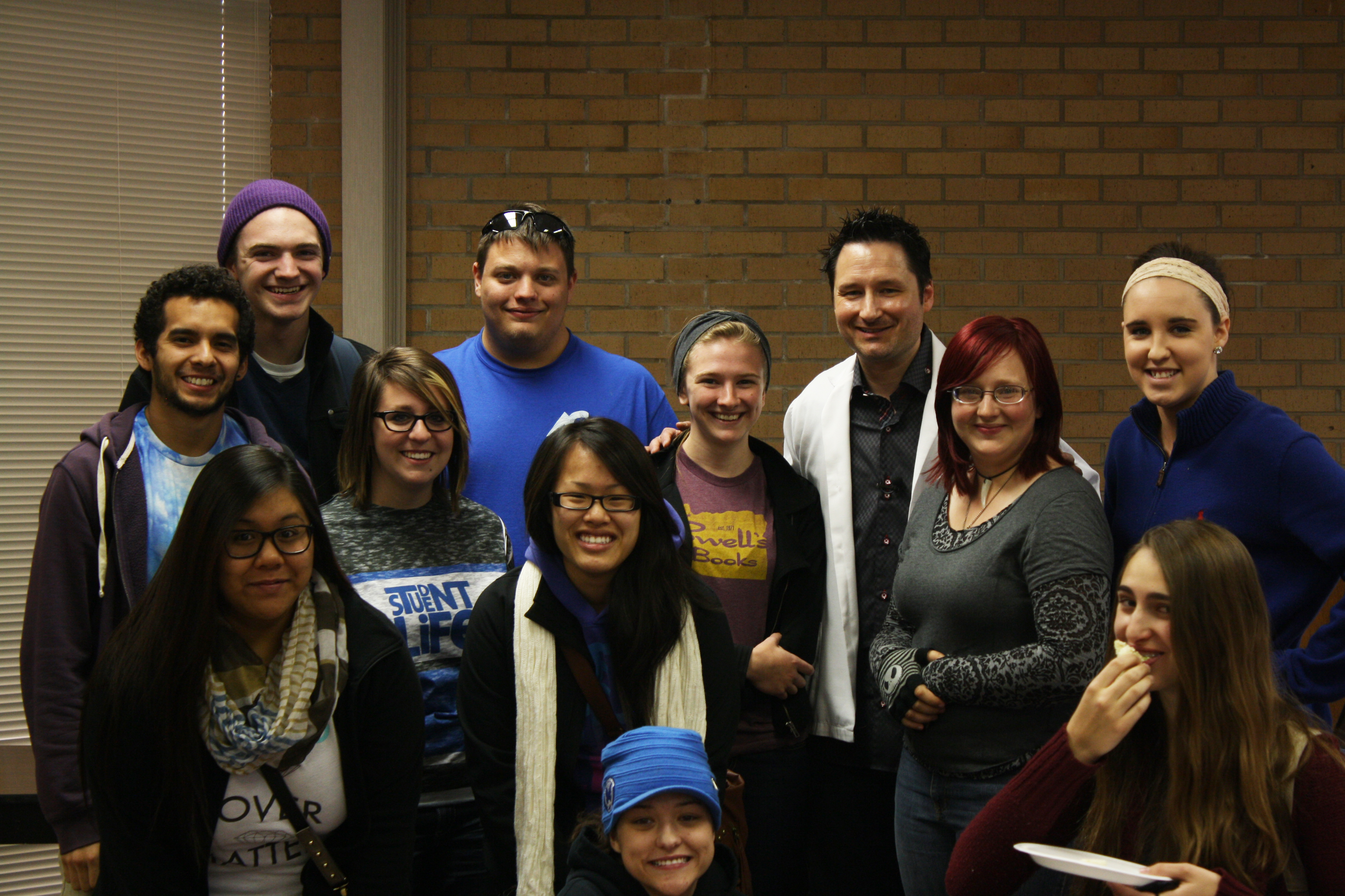 "Photo courtesy of SUSAN HARTFELDER SGA members mug with ""Sex, Drugs and Redbull"" speaker, Chad Smith. Top: David Montez, Keytan Callery, Zeb Rollins, Chad Simpson, Kelsi Peacock. Middle: Valerie Xayarith, Tyla Giromini, Halley Le, Mikhaela Sample, Susan Hartfelder, Mary Frazier. Bottom:Karli Shafer."