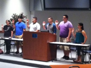 Photo provided by MCC SGA  Moore County Campus SGA members swear in.