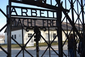 "AMANDA CASTRO-CRIST | Editor Travelers visited Dachau concentration camp, the first Nazi concentration camp established in Germany. ""Arbeit macht frei"" is a German phrase meaning ""work makes (you) free."""