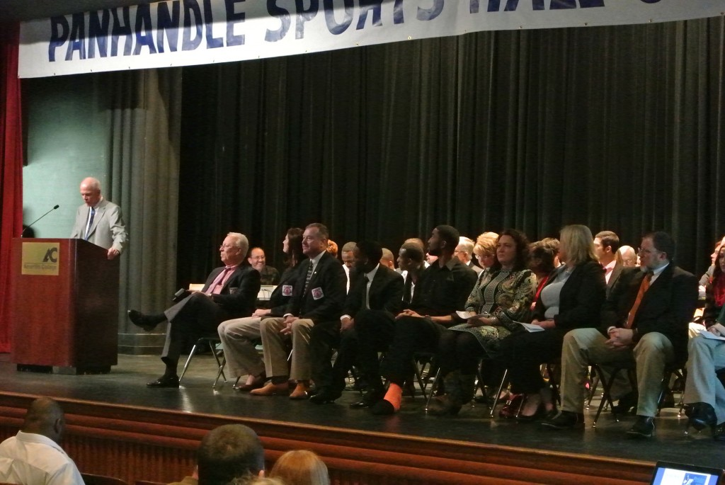 |Amarillo Globe-News columnist Jon Mark Beilue speaks at the Panhandle Sports Hall of Fame ceremony at Ordway Auditorium, honoring inductees 161, 162 and163: Leo LaBorde, Sarah Butler Carthel and Don Carthel, all sitting in the front row.|