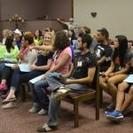 Students prepare to hear Greg Clark speak on leadership.   Photos by Amanda Castro-Crist
