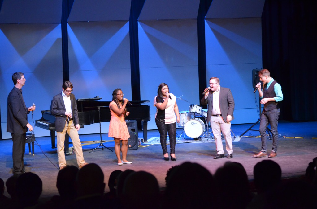 DENISHA KRANTHOVEN | The RangerDr. Steven Weber, left, music department chairman, performs with choir students at Badgeriety, a variety show to raise money for  an upcoming tour. Students are Ben Smeaton, Cynthia Good, Franchesca Fuentes, Tyler Long and Sean Jones.