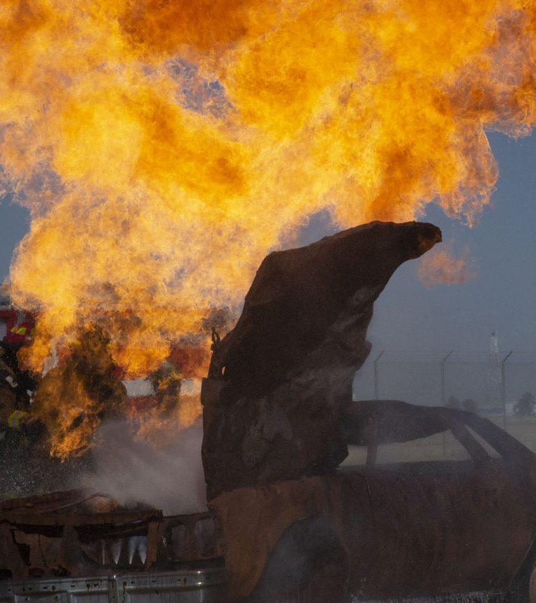 car burning