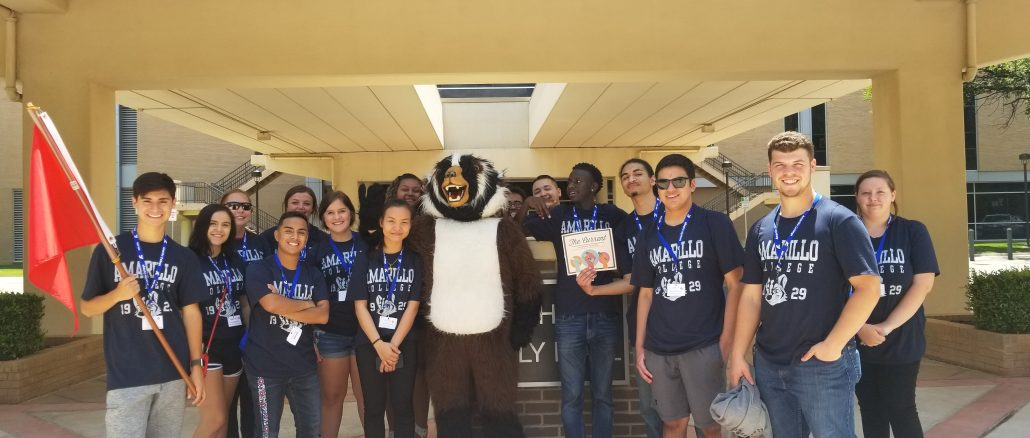 new students pose with AC badger