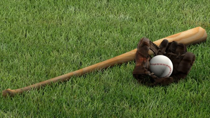 baseball bat. ball and glove